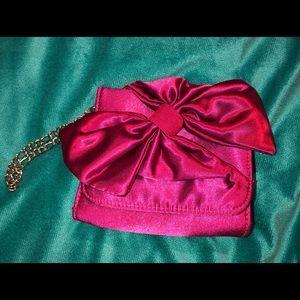 Pink satin wristlet
